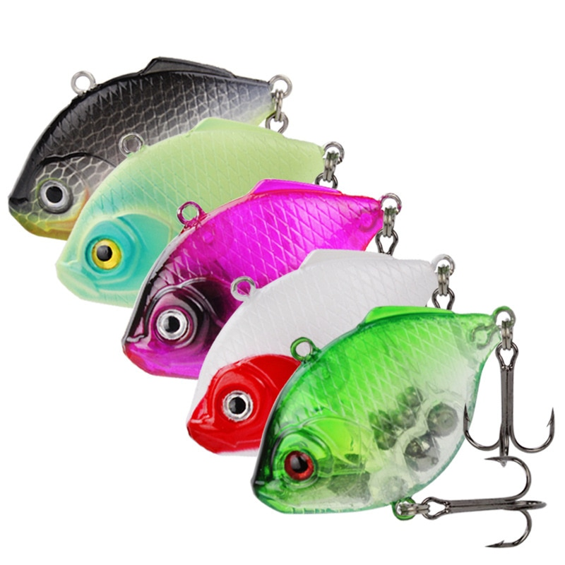 Simulation Flat Fish VIB Lure Fishing Hard Bait Noisy Balls 4.5cm/9g Sinking Plaice Vibration Lot 5 Pieces Sale
