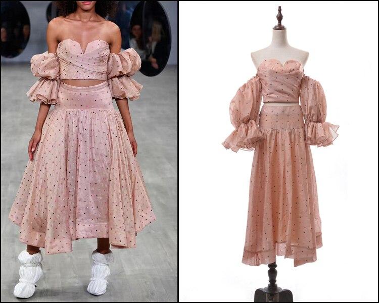 Nuevos trajes de Falda plisada a la moda de manga de burbuja Hubble de alta calidad 2019
