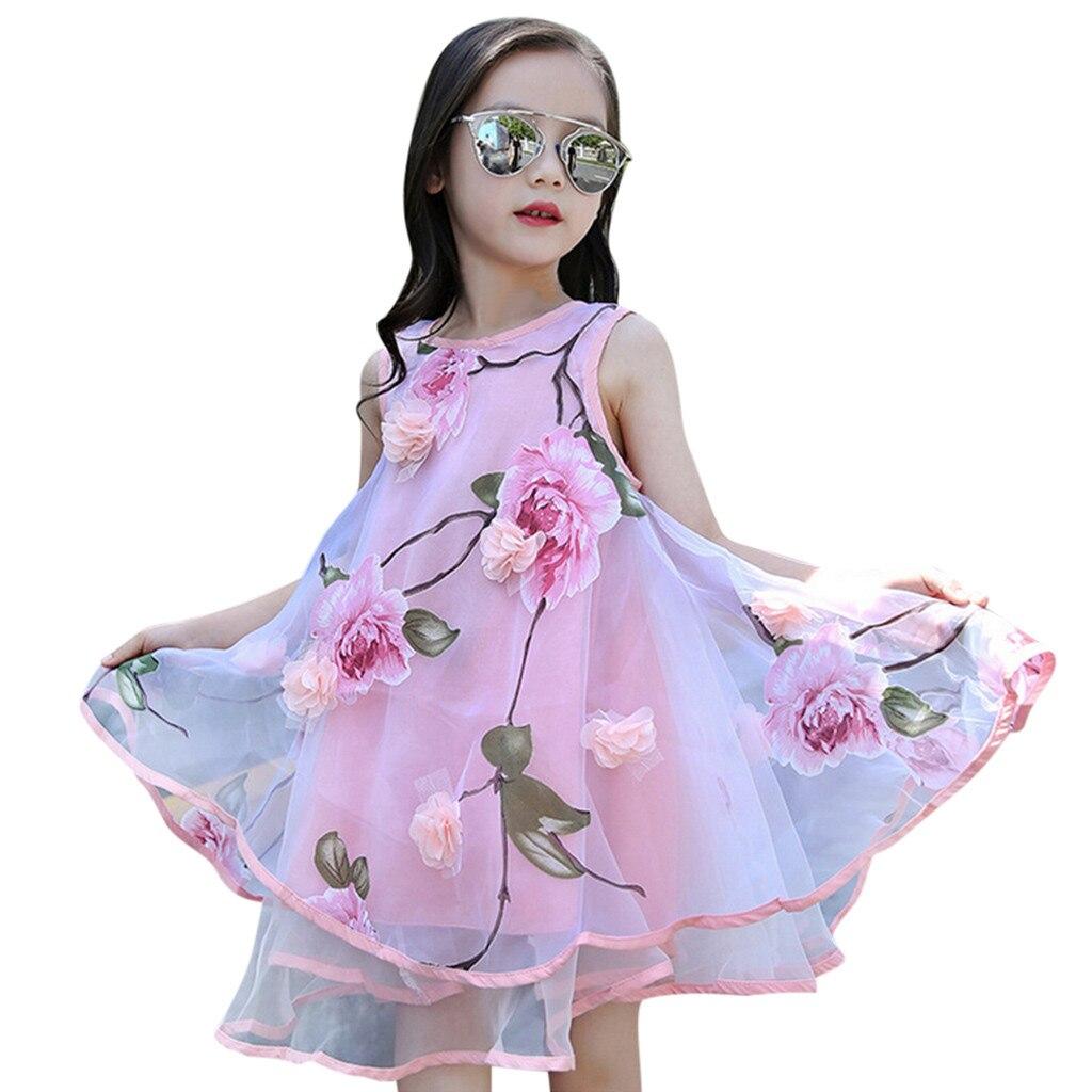 Vestido da menina de verão doce linda flor vestido de princesa pageant festa de casamento vestido de noite robe fille enfant mariage de soiree f4