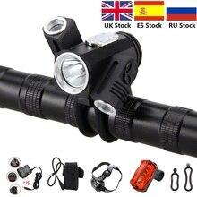 Vtt vélo lumière 1200 LM 3x T6 avant Led vélo lumière + 6400mAh batterie arrière + lumière arrière + chargeur RU en Stock