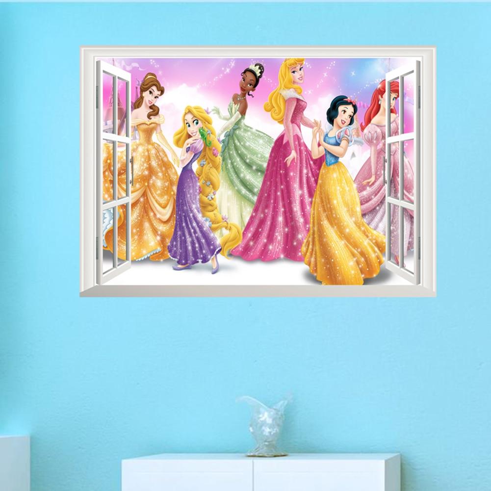 Falda de princesa de las niñas regalo roto ventanas de pared pegatinas sala de decoración de habitación de niños decoración de la pared pegatinas