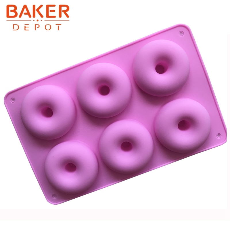 Moldes de silicona BAKER DEPOT para big donut, moldes de postre de 6 cavidades, utensilios para horneat DIY CDSM-692