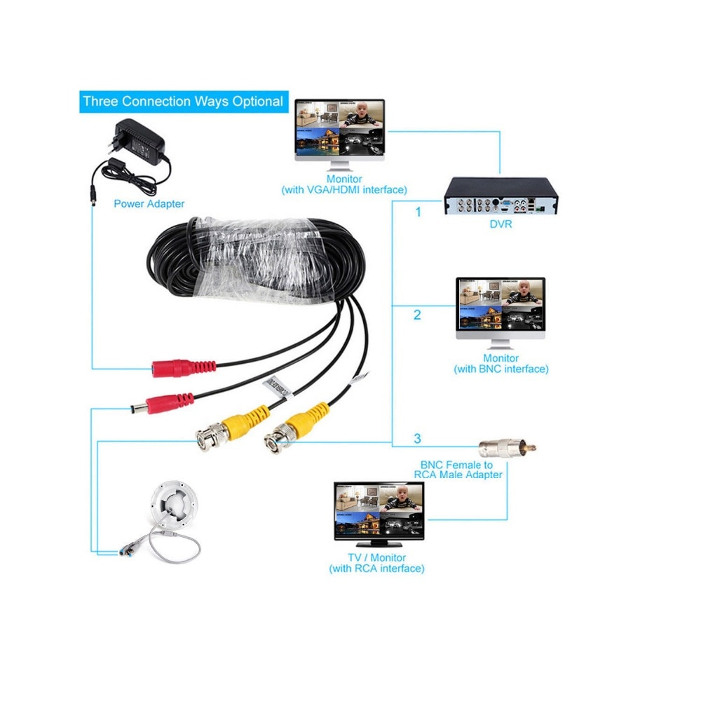 ESCAM 5M to 60M Meters BNC Video And Adapter Power 12V DC Integrated Cable for Analog CCTV DVR Camera System Kit enlarge