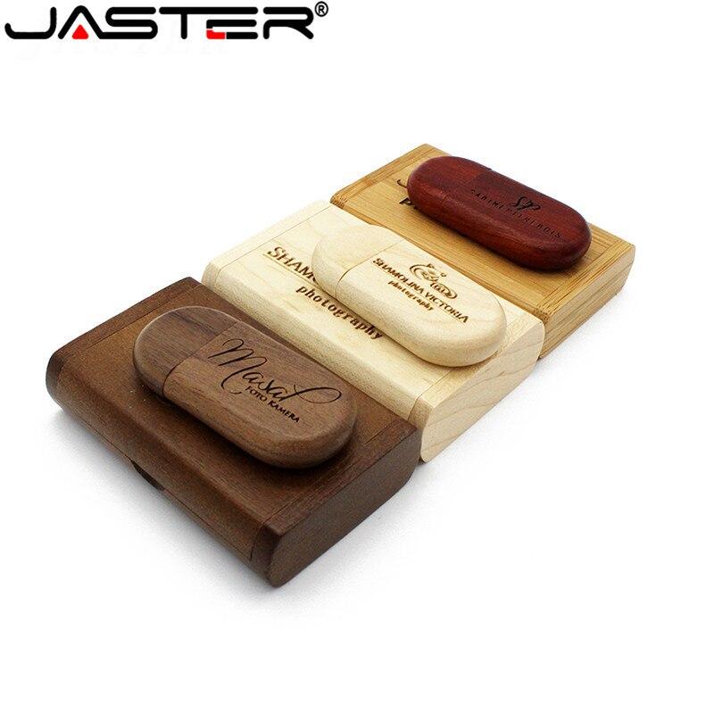 JASTER de madera + caja de logotipo personalizado 2gb usb flash drive 4gb 8gb 16gb 32gb 64GB Pendrive 32gb 64gb usb stick 64gb pen drive (más de 1 Uds gratuito registro)