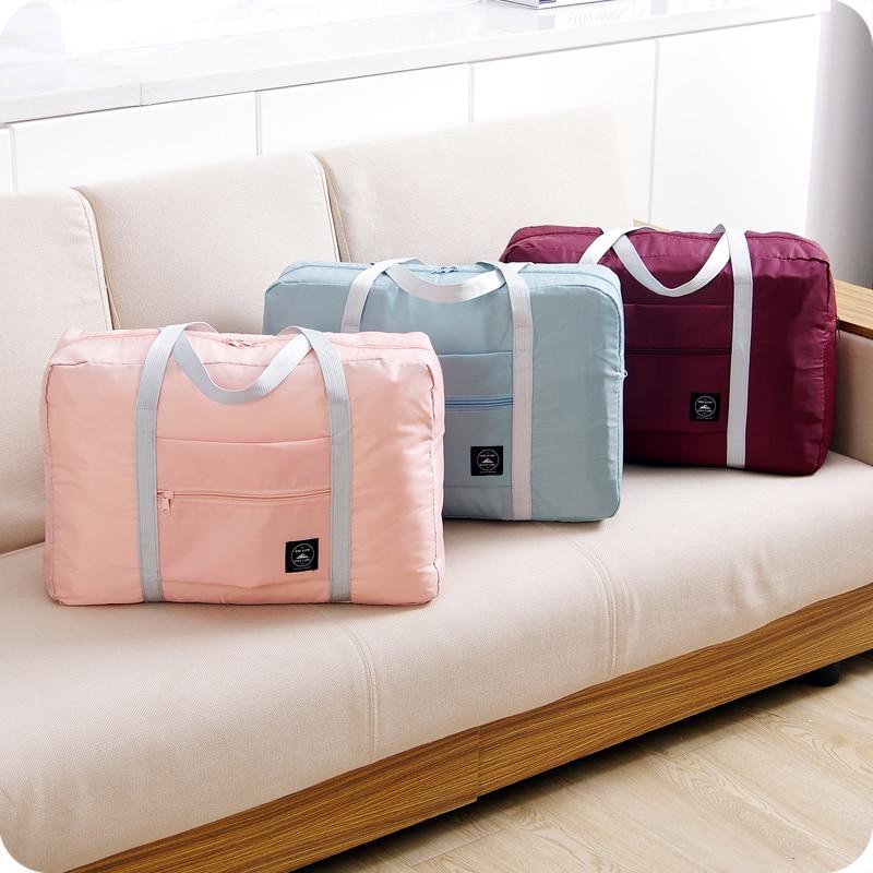 Fashion Women Travel Luggage Bag Big Capacity Folding Carry-on Duffle Bag Foldable Nylon Zipper WaterProof Travel Portable Bag