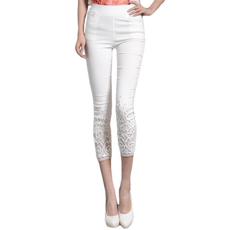 Mujer verano 2018 talla grande 4XL Pantalones mujer Skinny cintura elástica lápiz pantalón señoras encaje diamante pantorrilla-longitud Pantalones pantalon W22