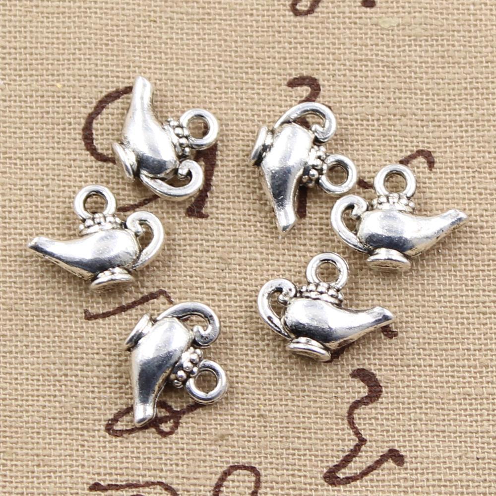 25 pçs encantos aladdin lâmpada mágica genie 15x12mm pingente feito à mão que faz o ajuste, cor de prata tibetana do vintage, diy para pulseira colar