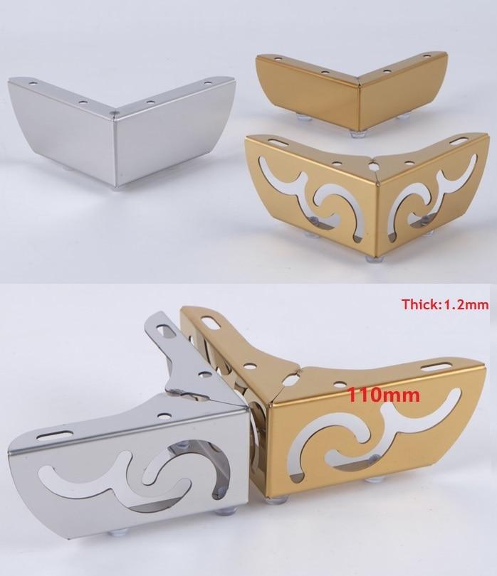 4 pçs/lote Premintehdw Móveis Banho de Pés Perna Da Cadeira Sofá Café Com Parafusos de Aço Inoxidável Padrão de Flor Chrome Ouro