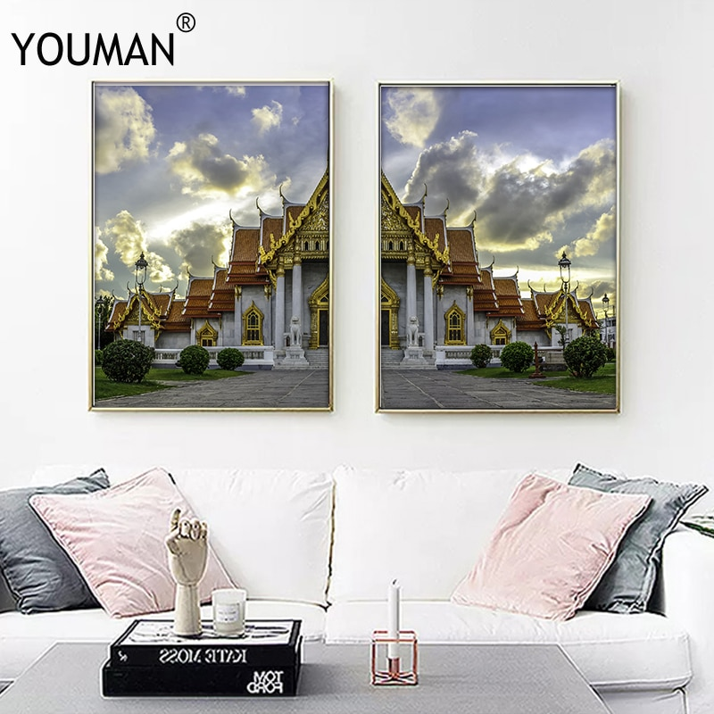 YOUMAN Southeast Asia Decoration Home Wallpapers Poster Landscape Art Wall Canvas Painting Boat Beach Printing