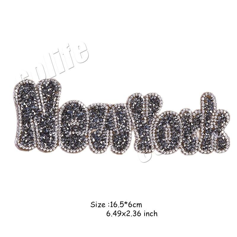 16.5*6 centímetros Rhinestone Patch New York Carta de Transferência De Calor DIY Acessório Lavável Emblemas Nova Roupa do Projeto Deco Adesivos