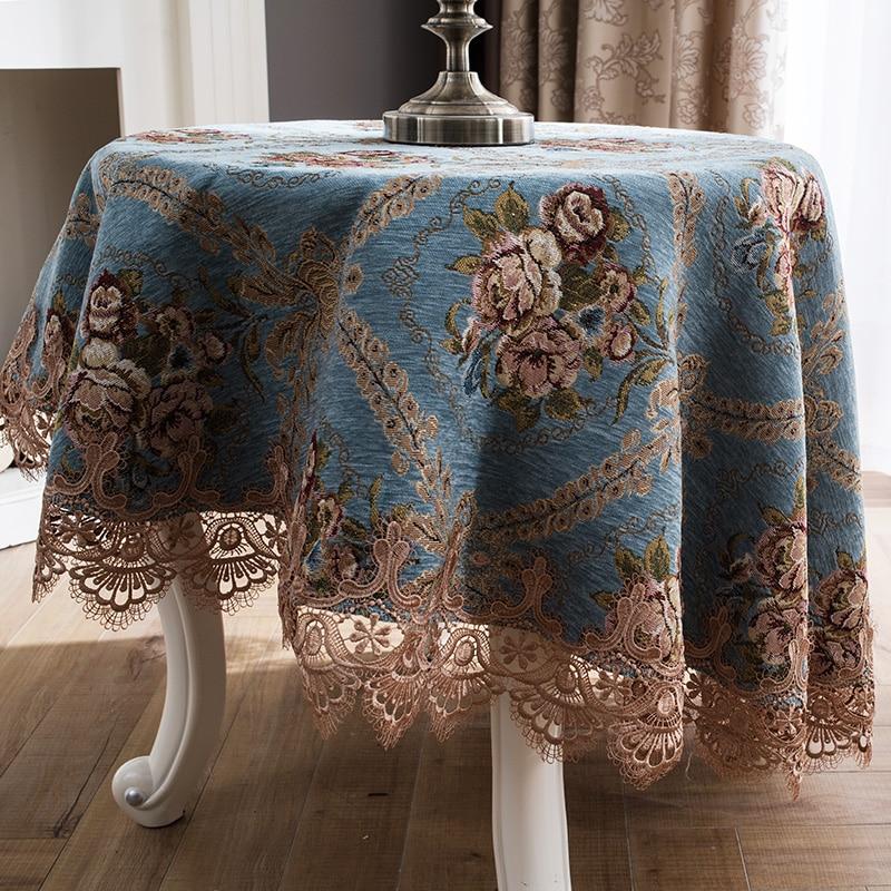 Quadrado redondo azul chenille rendas toalhas de mesa mesa jantar cobrir esteira europa beleza flor poliéster casa dec FG904-2