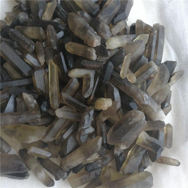 Especímenes minerales de roca de 1,0 lb, en bruto, de cuarzo ahumado natural, puntos de semilla de cristal, originales de China
