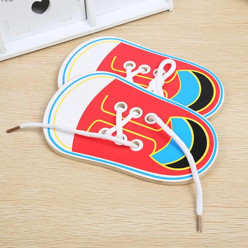 Kids Cute Wooden Shoes Clothes Puzzles Toys Children Montessori Early Learning Tie Shoelaces Puzzles Wood Beads Lacing Board