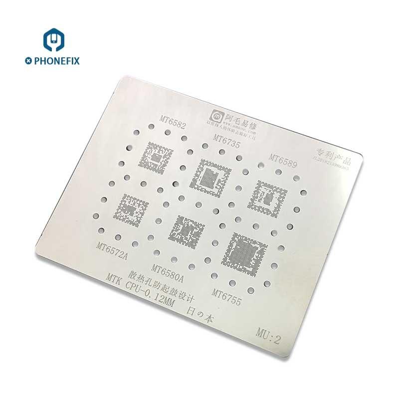 PHONEFIX AMAOE 0,12 MM reparación BGA plantilla Universal para teléfono MTK CPU de soldadura de la serie MT6582 MT6735 placa de calefacción