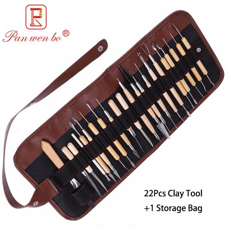 22 Uds. Conjunto de herramientas para escultura de arcilla, cerámica y cerámica, Asa de madera, herramientas para moldear arcilla con bolsa