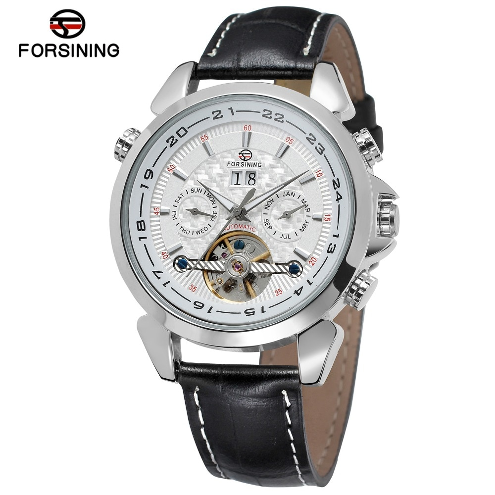 Exibição do Calendário dos Homens Marca de Luxo Forsining Tourbillion Projeto Couro Genuíno Mecânicos Relógios Top Relógio Automático Novo Fanta