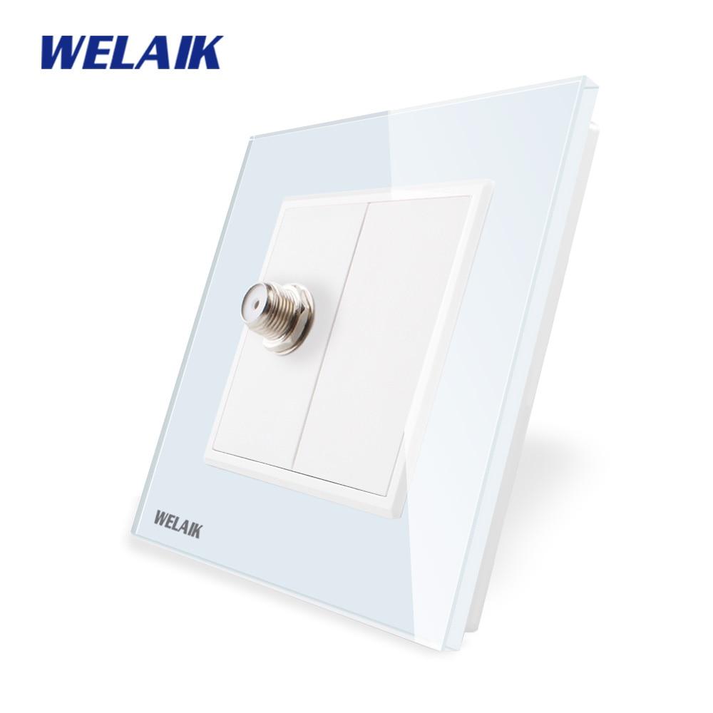 Panel de cristal-cristal de WELAIK 1frame-toma de pared de la UE tomas de satélite a18sern/B