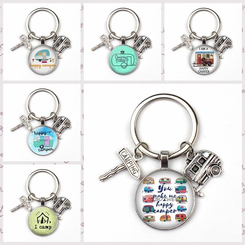 2019 new cute trailer street sign key ring camper car pattern key chain children car charm bag men women jewelry favorite gift