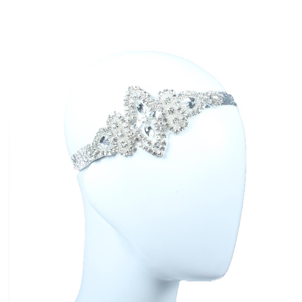 Lowosaiwor Wholesale 1920's Gatsby Flapper Headpiece Crystal Applique Bride Headpiece Wedding Headband  HS10259