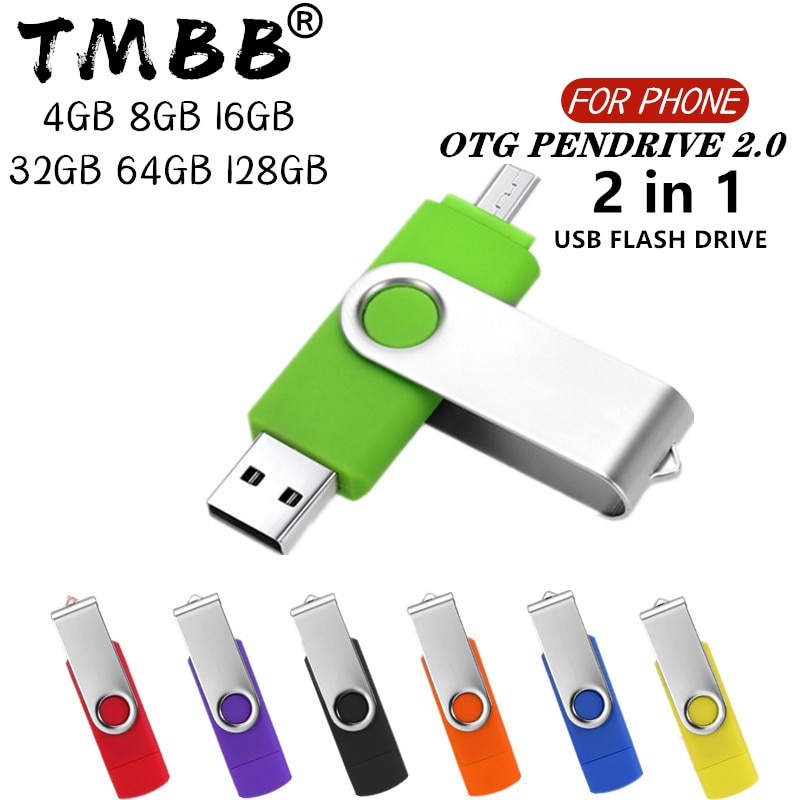 360° Rotate OTG USB Flash drive cle 64G USB 2.0 Smart Phone pen drive 4g 8g 16g 32g 128g micro usb