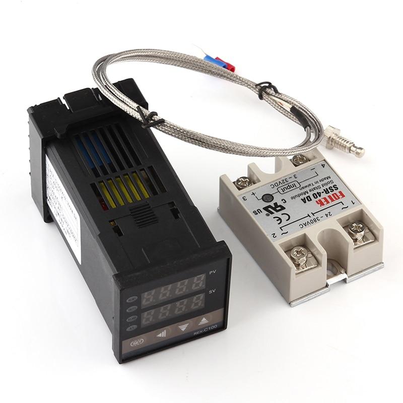 Цифровой PID регулятор температуры REX-C100 REX C100 термостат + 40DA SSR реле + K термопара 1 м Зонд для RKC