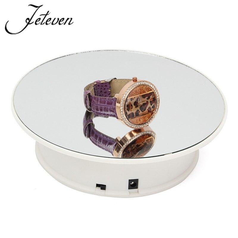 Soporte eléctrico rotatorio de mesa giratoria de exhibición de 360 grados carga máxima 9,7g 20cm oreja giratoria anillos pulseras reloj espejo soporte exhibidor