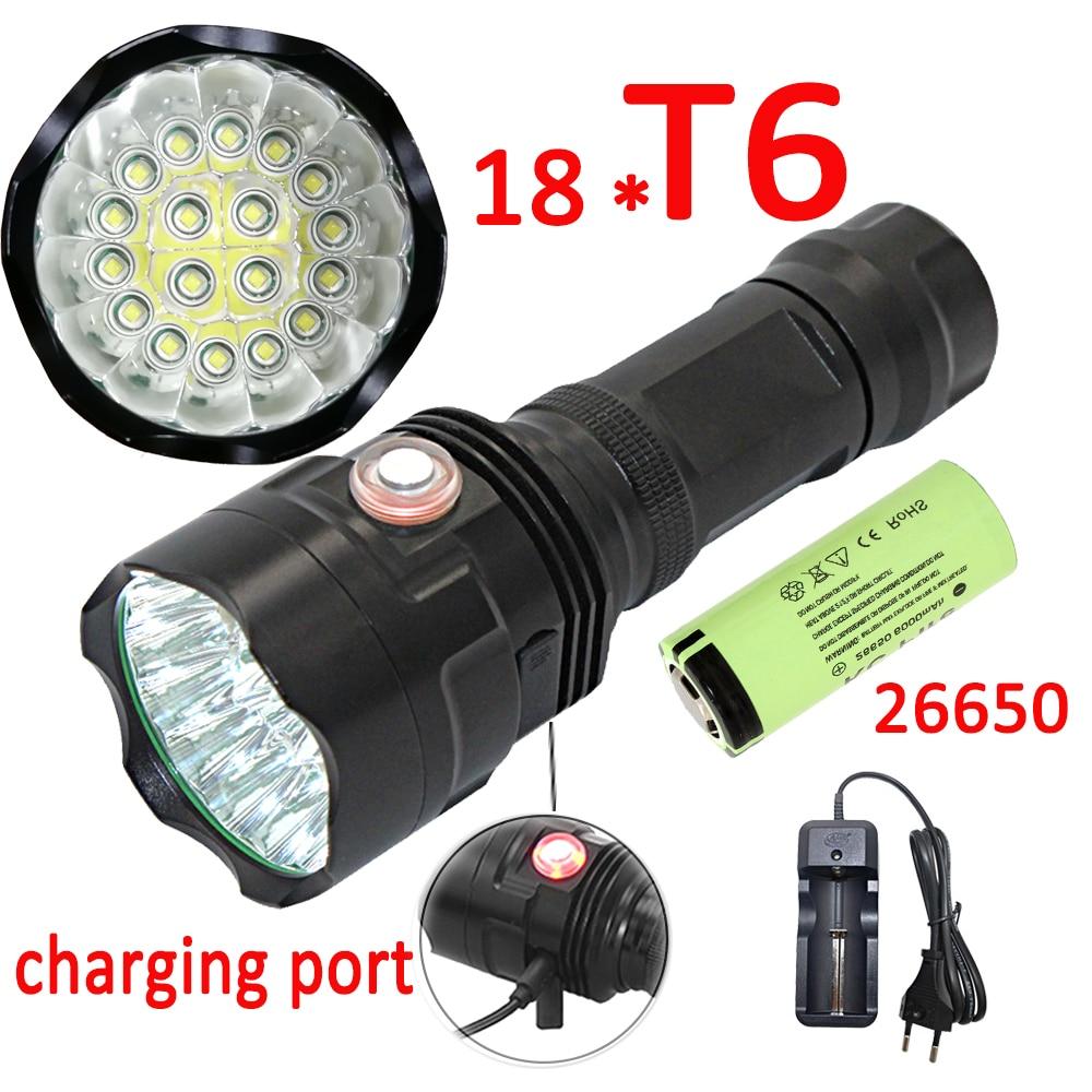 USB recargable 18x XML T6 linterna LED 20000LM lámpara de antorcha de poderoso lanterna para acampar + 26650 batería + cargador