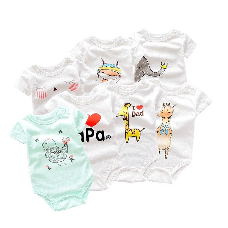 0-12M Unisex Strampler Tops Hohe Qualität Baby Kurzarm Baumwolle Kleidung Oansatz Neugeborenen Jungen Mädchen Overall Baby kleidung Sommer