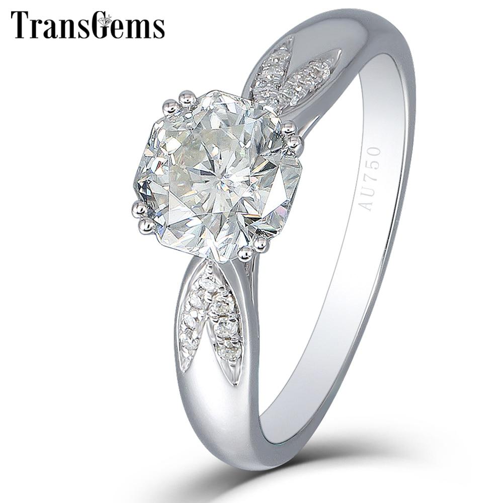 Anillo de compromiso para mujer Transgems 1 quilate 6MM F Color Lab Grown Moissanite Diamond Octagon corte 14K oro blanco 585