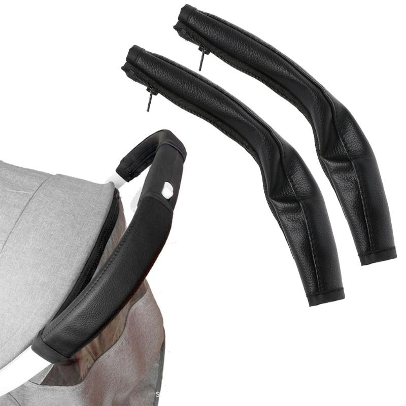 QILEJVS 2pcs/set Pram Stroller Handle Leather Baby Stroller Armrest Protective Case Armrest Covers B