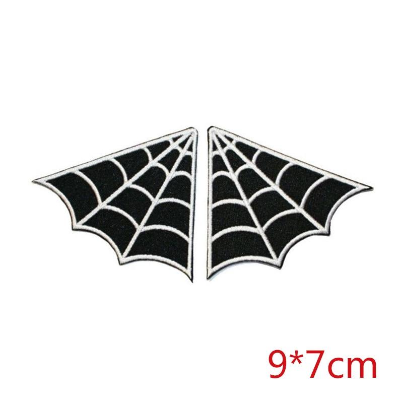 WEB spiderweb set of 5 Pair collar punk goth B/W iron-on patch applique