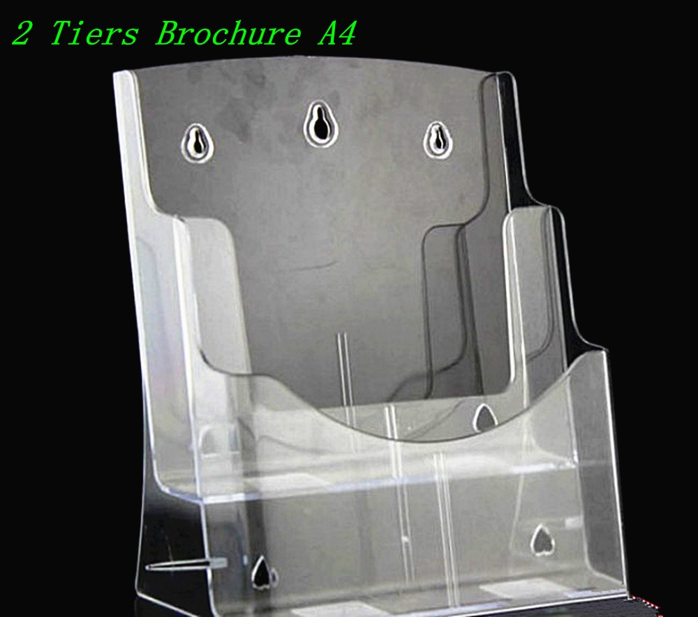 Clear A4 2 Tiers Plastic Acrylic Brochure Literature Pamphlet Display Holder Racks Stand To Insert Leaflet 30pcs