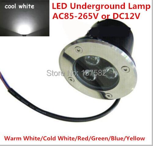 Venta de fábrica 3W lámpara LED subterránea suelo empotrado luz LED blanco cálido/blanco frío empotrado iluminación LED AC85-265V o DC12V