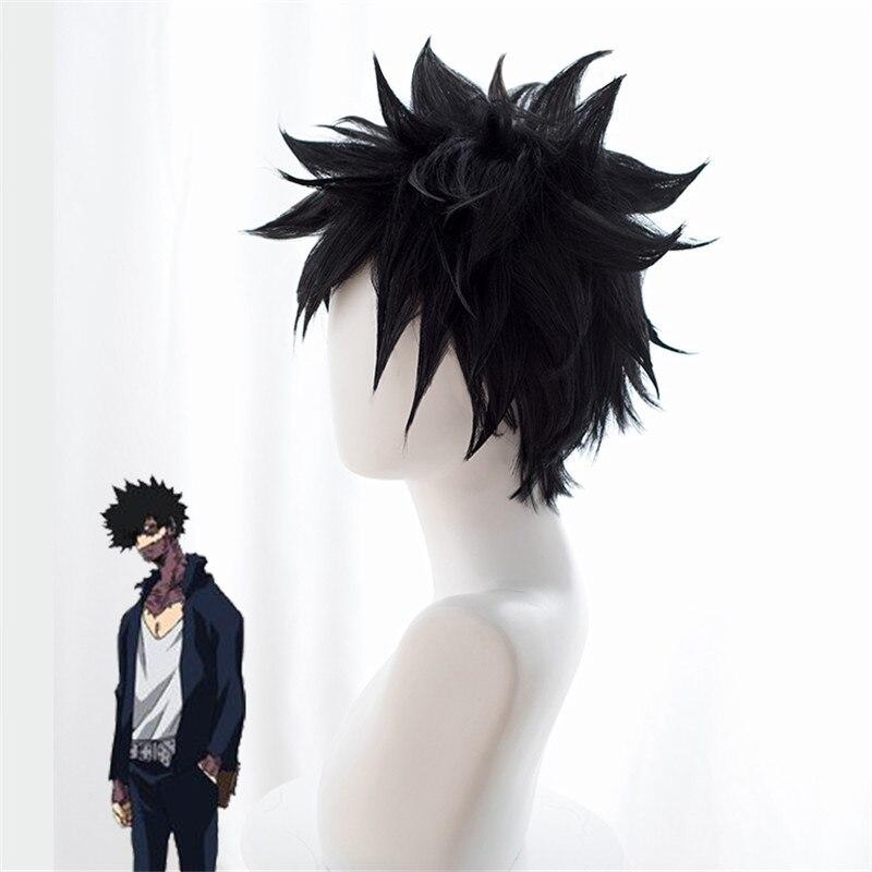 Peluca de Cosplay My Hero Academia Dabi Boku no Hero Academia peluca corta de pelo sintético negro pelucas para fiesta de Halloween