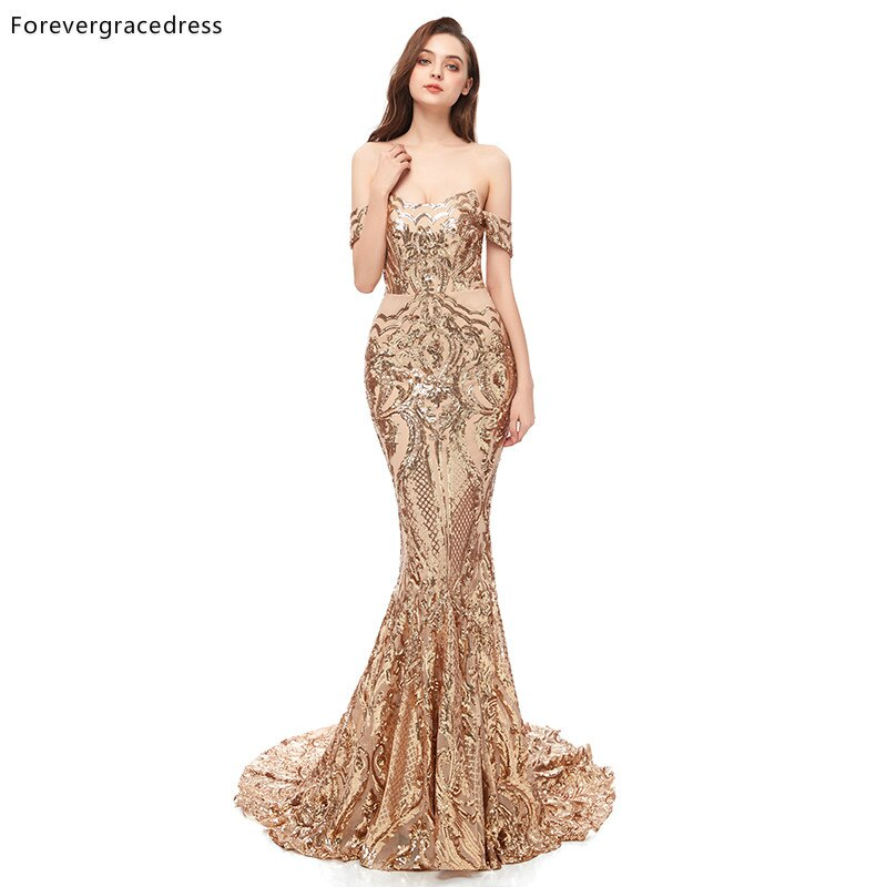 Золотые платья для выпускного вечера Forevergracedress, 2019, с открытыми плечами и открытой спиной, праздничная одежда для выпускного вечера, индивид...