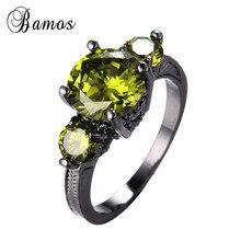 Bamos exquis août pierre de naissance noir or rempli bijoux de mariage de mariée ronde charmante Olive vert AAA Zircon anneau meilleur cadeau