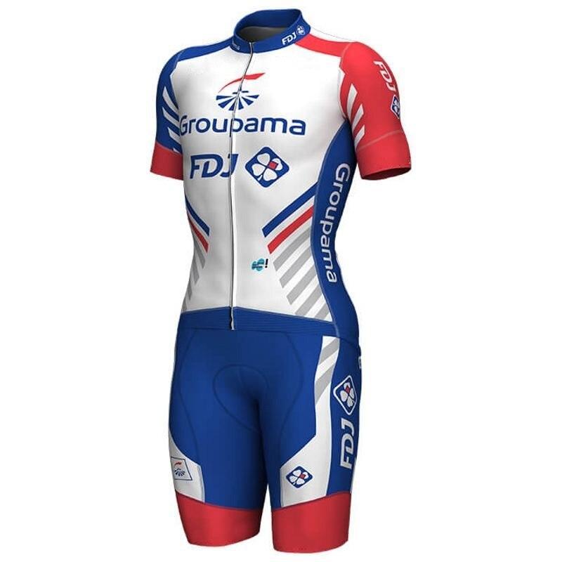 2019 pro team FDJ aero Cycling skinsuits one piece Short sleeve summer bodysuit bike clothing MTB Ropa Ciclismo speedsuit