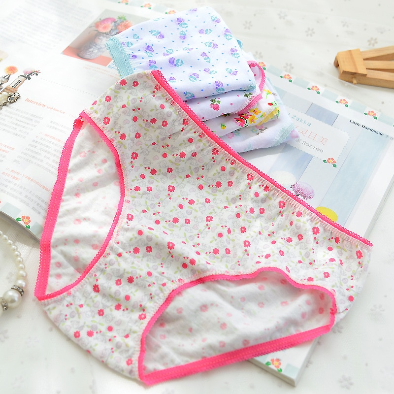6Pcs/Lot Cotton Girls Kids Short Briefs Children Underwear Underpants Baby Panties 2-12Years