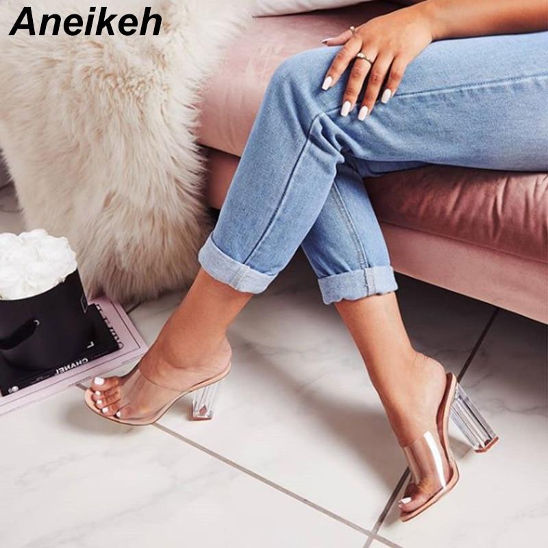 Aneikeh New Women Sandals PVC Jelly Crystal Heel Transparent Women Sexy Clear High Heels Summer Sand