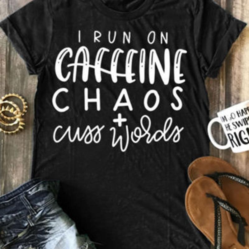 Camiseta de mujer Momoluna I Run On Caffeine Chaos mujeres hombres divertida camiseta para señora Hipster Tumblr Top camiseta