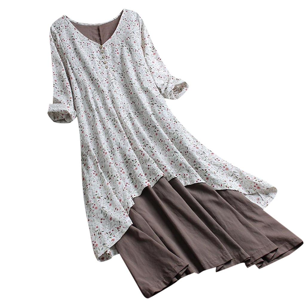 Praia floral impressão com decote em v manga comprida dupla camada vestido de férias boêmio ao ar livre casual festa manga longa vestido solto sundress