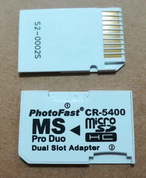 10 Uds CR-5400 cr 5400 micro SD SDHC a MS Pro Duo adaptador para lector de tarjetas adaptador de ranura Dual PSP