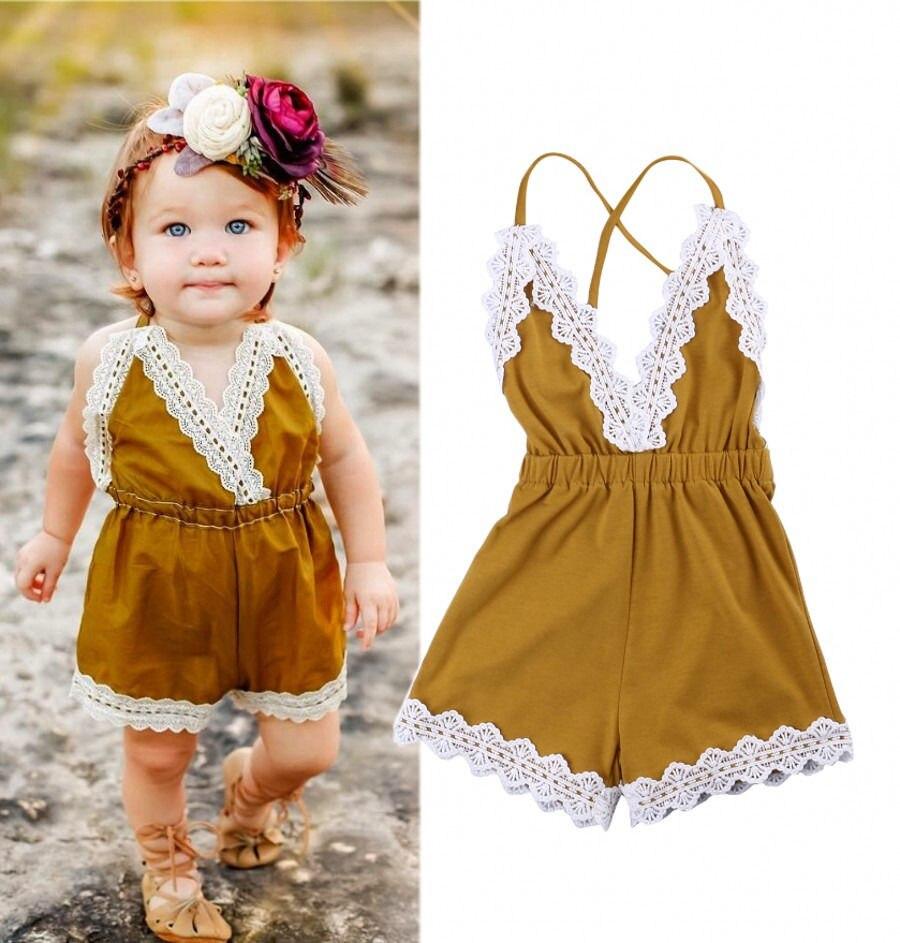 2017 nova criança infantil verão recém-nascido do bebê meninas laço amarelo macacão sunsuit um-pieces roupas das crianças