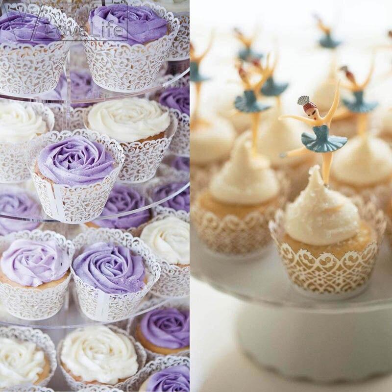 12 unids/pack de hueco de encaje Floral de Muffin envoltura funda de envoltura de fiesta de boda de decoración
