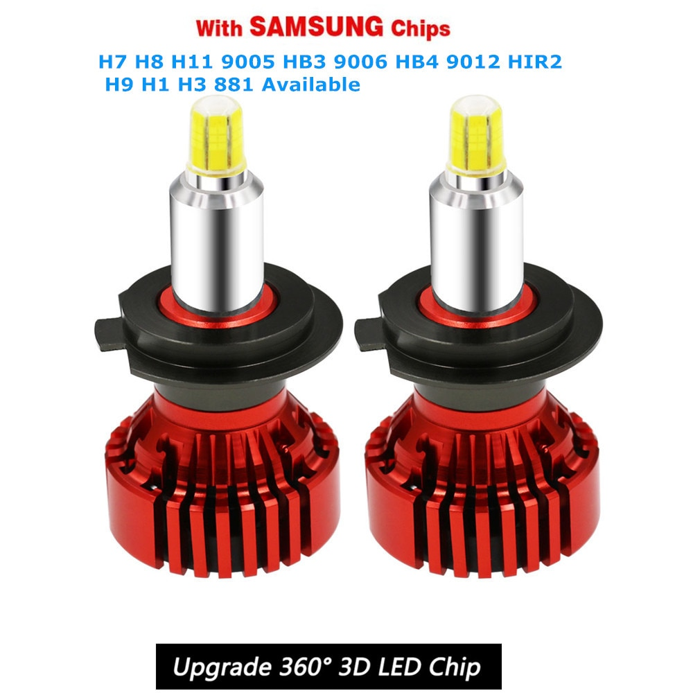 Un juego, Bombilla de faro LED H7 de ángulo alto de 360, 14000LMS, decodificador LED CanBus, Chip CSP, minibombilla de faro H11 9005, faro de coche