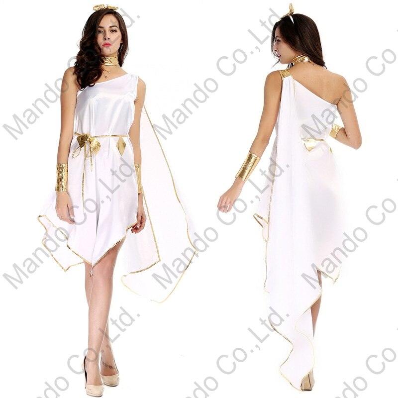 Mulheres adultas Sexy deusa Grega Atena vestido Branco Cosplay partido Do Disfarce do dia das bruxas Meninas Vestidos de traje
