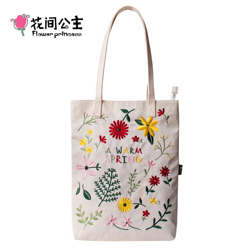 Flower Princess Women Embroidery Shoulder Bag Girls Nylon Floral Large Capacity Tote Bags Ladies Black Handbag Hand Bags bolsa