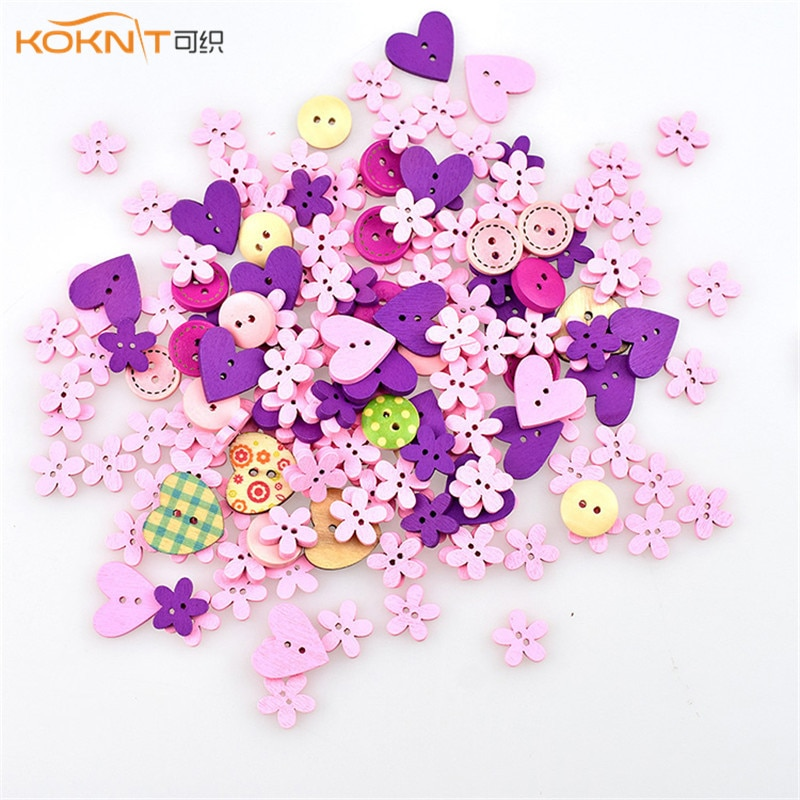 AliExpress - 100 pcs/multiple mixed 2 hole wood button red round heart-shaped pattern decoration button for mother sewing DIY cut-out craft