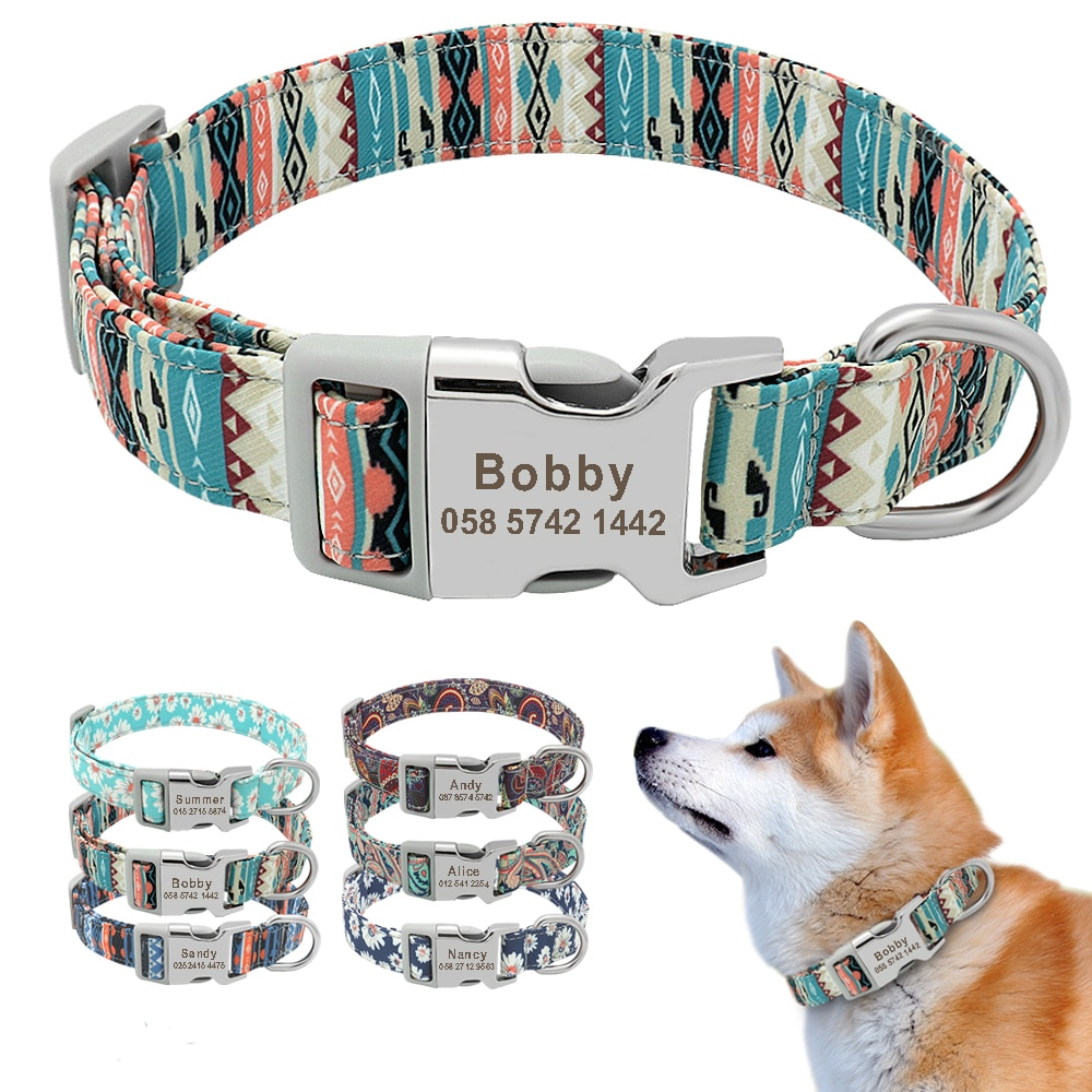 Customized Printed Pet Collar Nylon Dog Collar Personalized Free Engraved Puppy ID Name Collar for Small Medium Large Dogs Pug personalized dog collar nylon print dog collars customized puppy pet collar engraved name id for small medium large big dogs pug