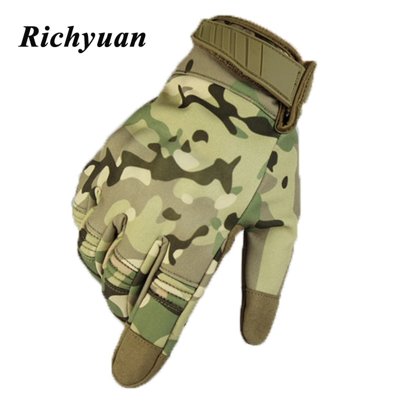 Multicam Camo Flexible Touch Screen Lightweight Breathable Assault Motorcycle Hard Knuckle Full Finger Gloves Outdoor Cycling